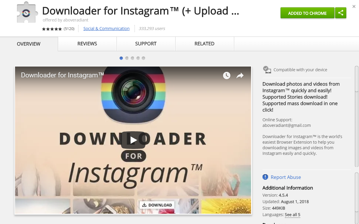 download instagram video chrome extension